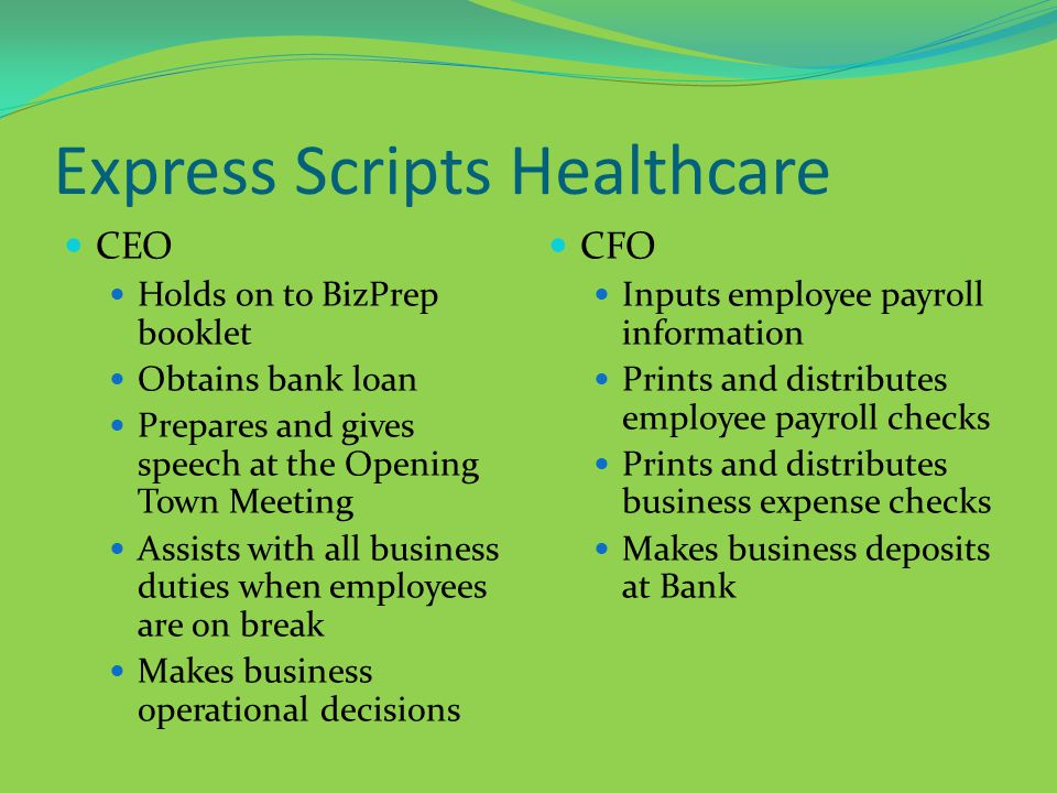 Express Scripts Healthcare CEO Holds on to BizPrep booklet Obtains bank loan Prepares and gives speech at the Opening Town Meeting Assists with all business duties when employees are on break Makes business operational decisions CFO Inputs employee payroll information Prints and distributes employee payroll checks Prints and distributes business expense checks Makes business deposits at Bank