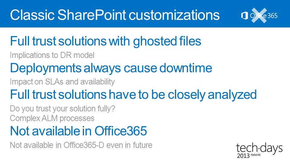 Classic SharePoint customizations Full trust solutions with ghosted files Implications to DR model Deployments always cause downtime Impact on SLAs an