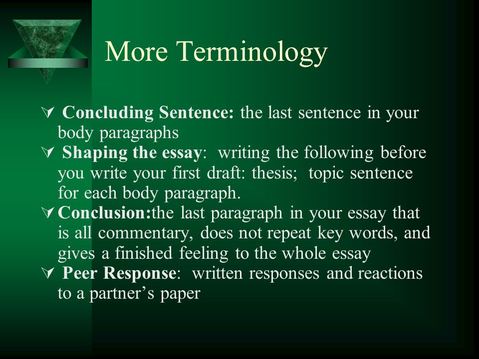 Once your body paragraphs are complete it is time to create an introductory paragraph  An introductory paragraph is used to catch the reader's attention  Your thesis should be the last sentence in your introductory paragraph  There are 4 types of introductory paragraphs :  Anecdote ( a little story)  Dialogue (open conversation)  Startling information (sometimes statistics are used)  Commentary (open with an opinion)