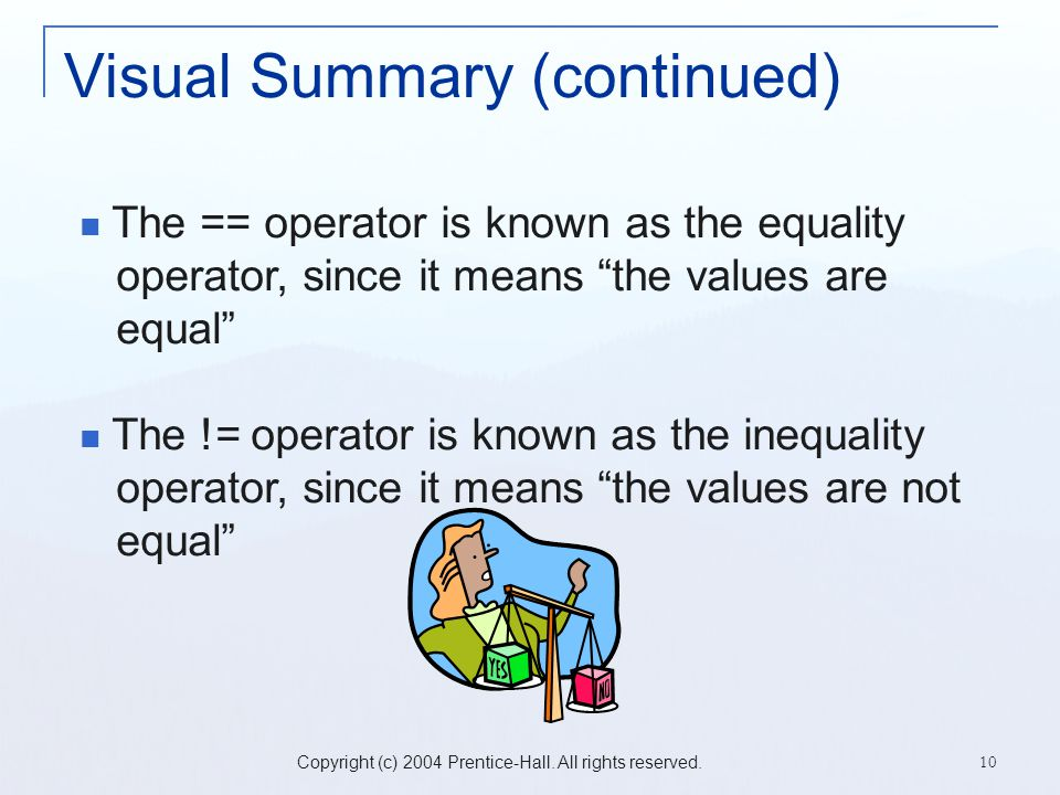 Copyright (c) 2004 Prentice-Hall. All rights reserved. 10 Visual Summary (continued) The == operator is known as the equality operator, since it means