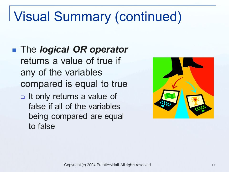 Copyright (c) 2004 Prentice-Hall. All rights reserved. 14 Visual Summary (continued) The logical OR operator returns a value of true if any of the var