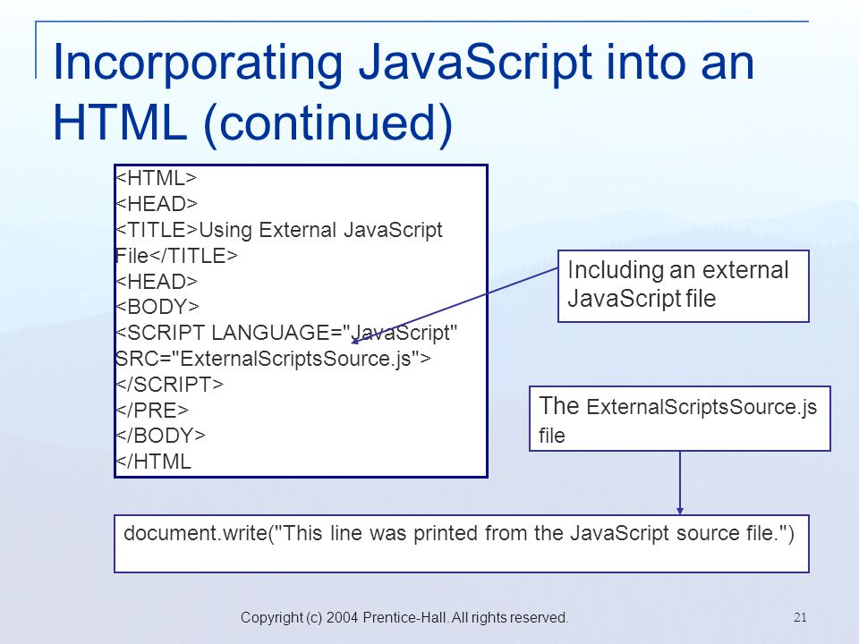 Copyright (c) 2004 Prentice-Hall. All rights reserved. 21 Incorporating JavaScript into an HTML (continued) Using External JavaScript File </HTML docu