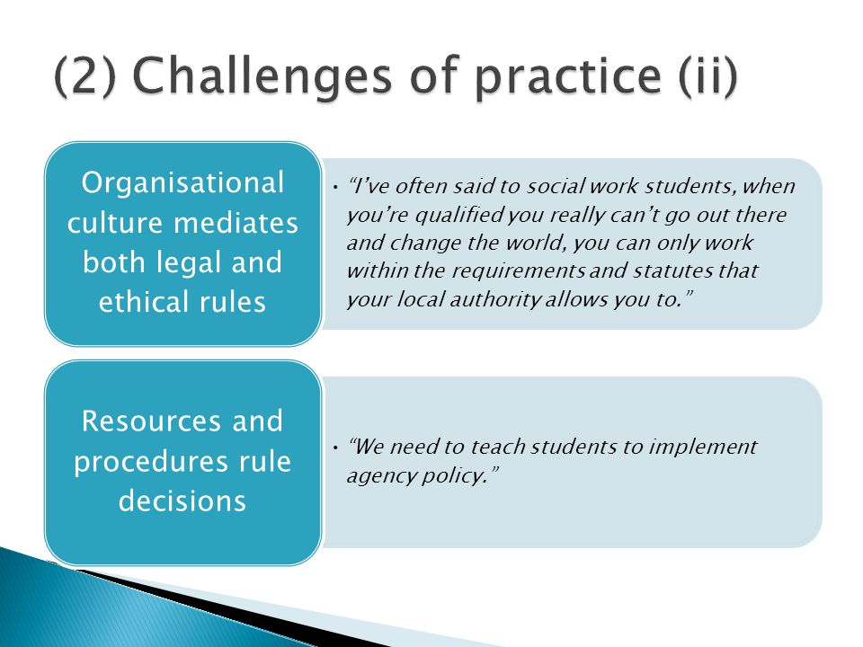 I've often said to social work students, when you're qualified you really can't go out there and change the world, you can only work within the requirements and statutes that your local authority allows you to. Organisational culture mediates both legal and ethical rules We need to teach students to implement agency policy. Resources and procedures rule decisions