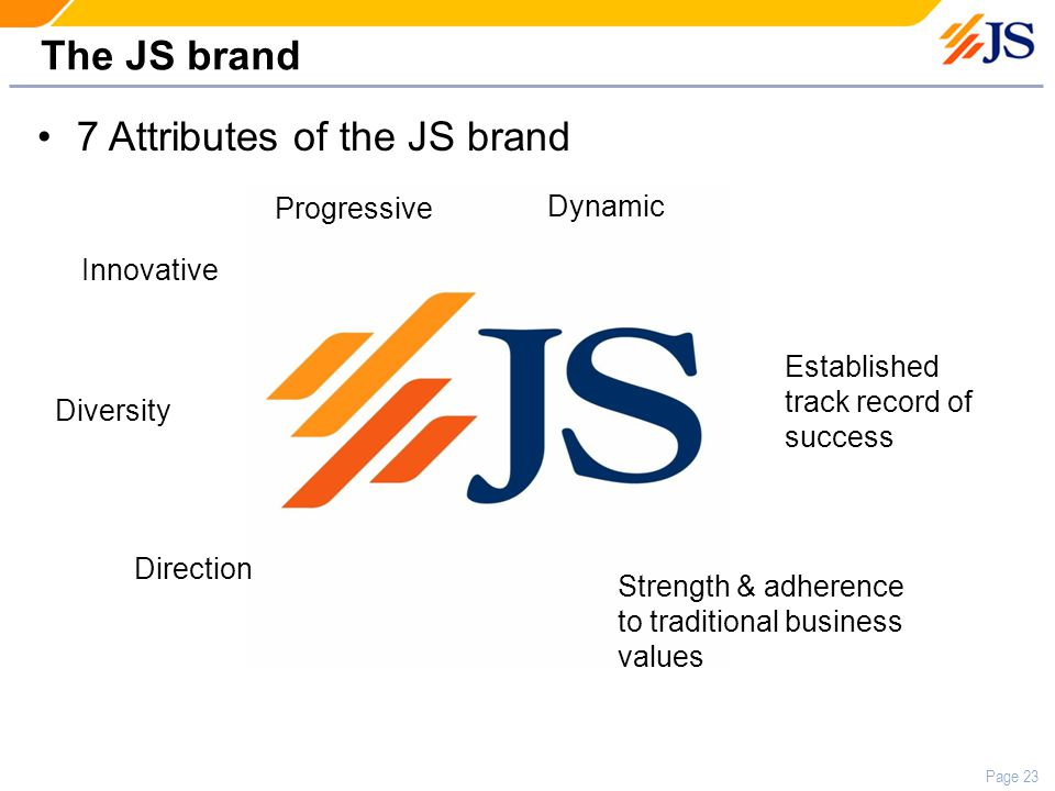 Page 23 The JS brand 7 Attributes of the JS brand Strength & adherence to traditional business values Progressive Innovative Dynamic Direction Diversity Established track record of success