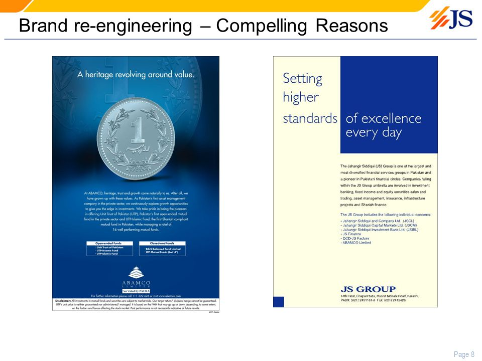 Page 8 Brand re-engineering – Compelling Reasons