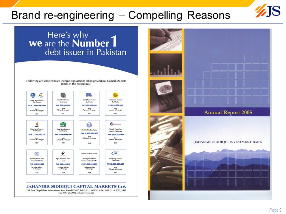 Page 9 Brand re-engineering – Compelling Reasons