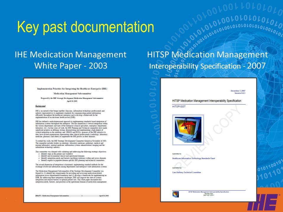 IHE Medication Management White Paper - 2003 HITSP Medication Management Interoperability Specification - 2007 Key past documentation