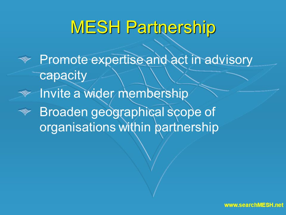 MESH Partnership Promote expertise and act in advisory capacity Invite a wider membership Broaden geographical scope of organisations within partnership