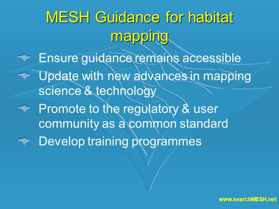 www.searchMESH.net MESH Guidance for habitat mapping Ensure guidance remains accessible Update with new advances in mapping science & technology Promote to the regulatory & user community as a common standard Develop training programmes