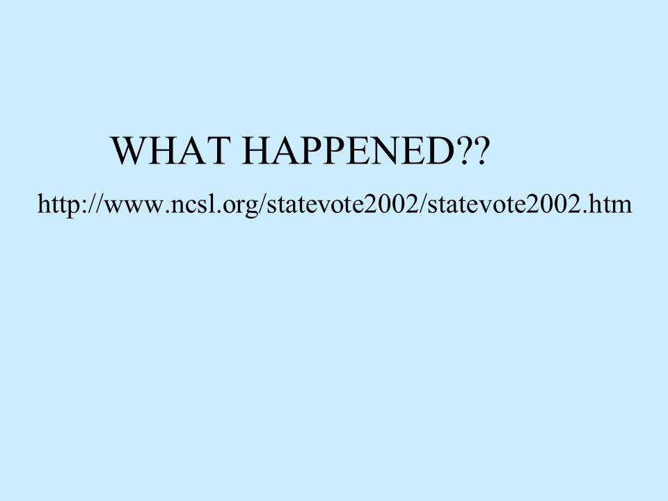 WHAT HAPPENED http://www.ncsl.org/statevote2002/statevote2002.htm