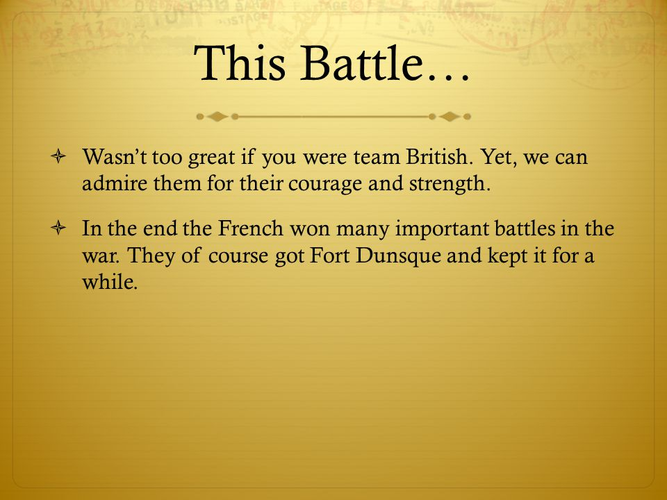 This Battle…  Wasn't too great if you were team British.