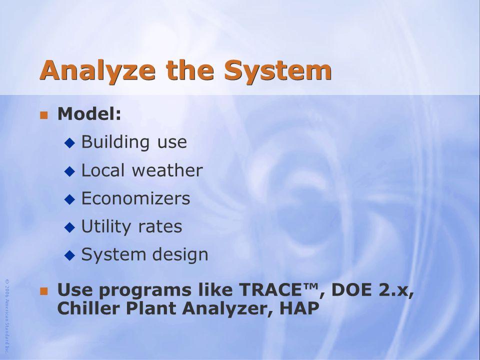 © 2006 American Standard Inc. Analyze the System n Model: u Building use u Local weather u Economizers u Utility rates u System design n Use programs
