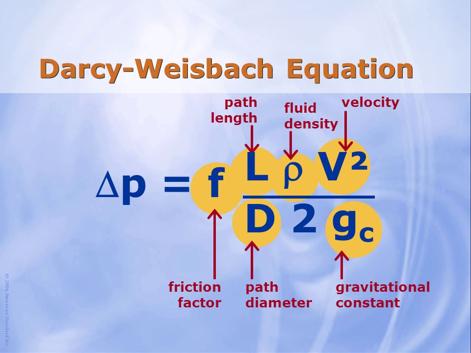© 2006 American Standard Inc. velocity path diameter path length fluid density friction factor gravitational constant Darcy-Weisbach Equation p = f L