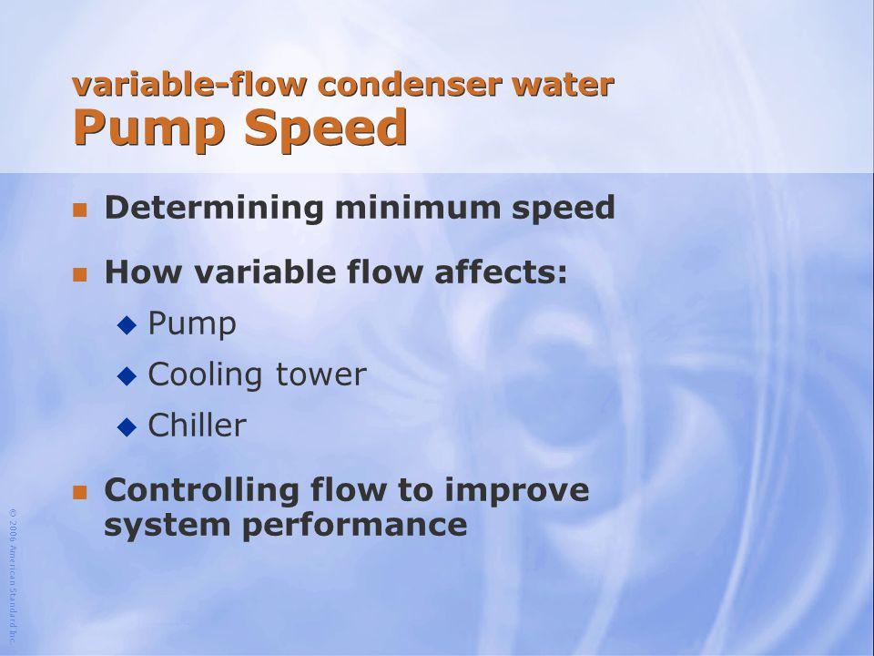 © 2006 American Standard Inc. variable-flow condenser water Pump Speed n Determining minimum speed n How variable flow affects: u Pump u Cooling tower