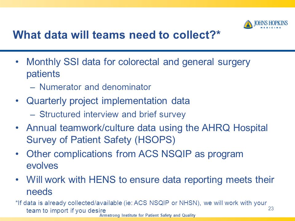 What data will teams need to collect * Monthly SSI data for colorectal and general surgery patients –Numerator and denominator Quarterly project implementation data –Structured interview and brief survey Annual teamwork/culture data using the AHRQ Hospital Survey of Patient Safety (HSOPS) Other complications from ACS NSQIP as program evolves Will work with HENS to ensure data reporting meets their needs *If data is already collected/available (ie: ACS NSQIP or NHSN), we will work with your team to import if you desire Armstrong Institute for Patient Safety and Quality 23
