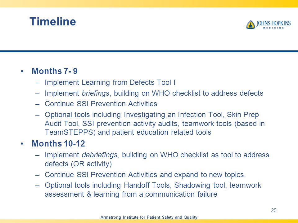 Months 7- 9 –Implement Learning from Defects Tool I –Implement briefings, building on WHO checklist to address defects –Continue SSI Prevention Activities –Optional tools including Investigating an Infection Tool, Skin Prep Audit Tool, SSI prevention activity audits, teamwork tools (based in TeamSTEPPS) and patient education related tools Months 10-12 –Implement debriefings, building on WHO checklist as tool to address defects (OR activity) –Continue SSI Prevention Activities and expand to new topics.