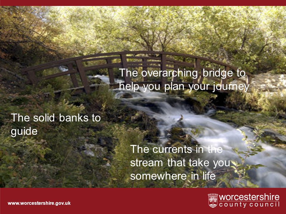 www.worcestershire.gov.uk Bridge and Stream The solid banks to guide The overarching bridge to help you plan your journey The currents in the stream that take you somewhere in life