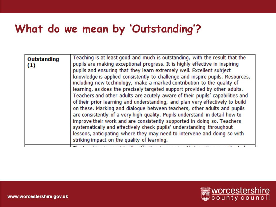 www.worcestershire.gov.uk What do we mean by 'Outstanding'
