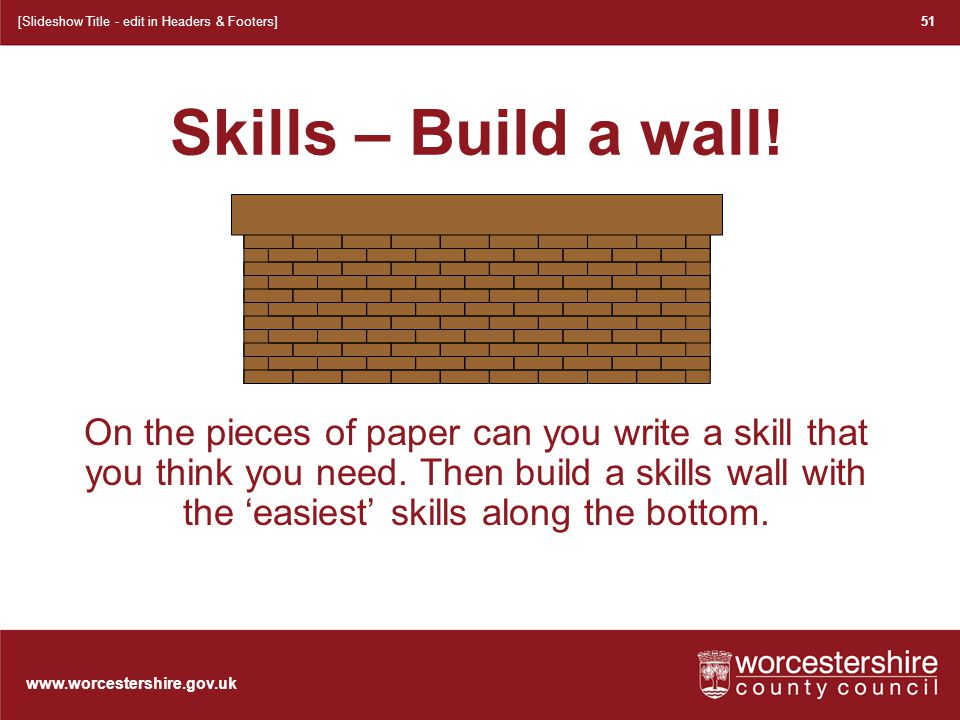 www.worcestershire.gov.uk Skills – Build a wall.