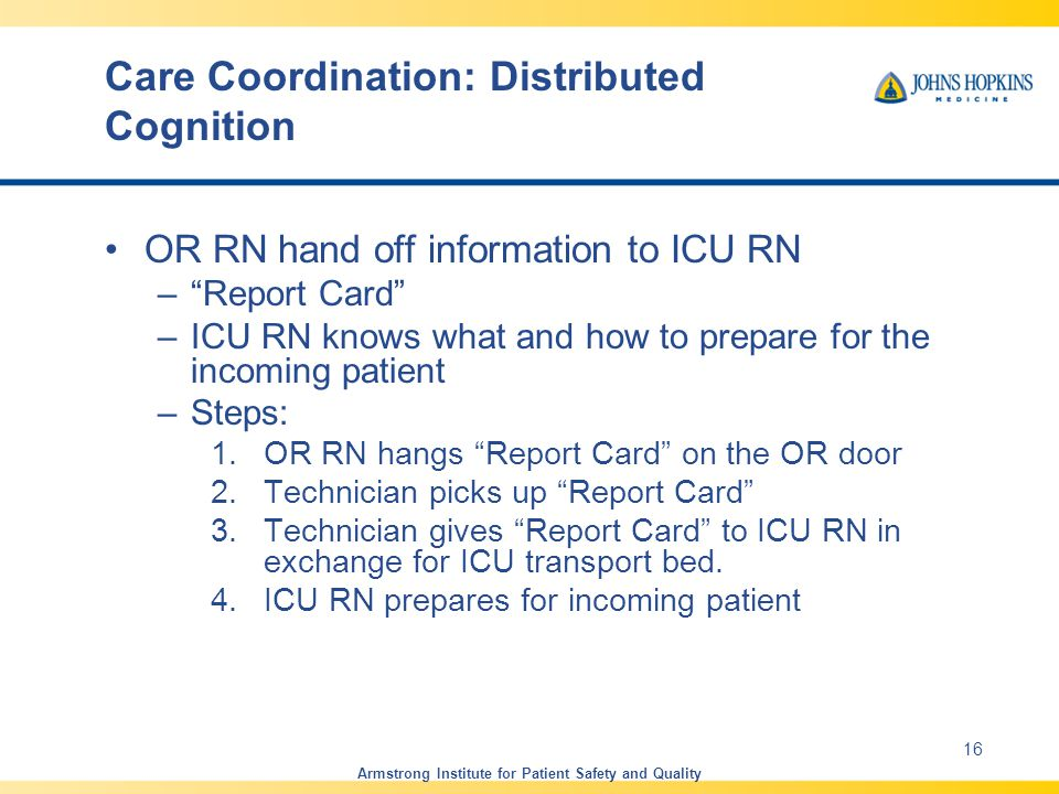 Care Coordination: Distributed Cognition OR RN hand off information to ICU RN – Report Card –ICU RN knows what and how to prepare for the incoming patient –Steps: 1.OR RN hangs Report Card on the OR door 2.Technician picks up Report Card 3.Technician gives Report Card to ICU RN in exchange for ICU transport bed.