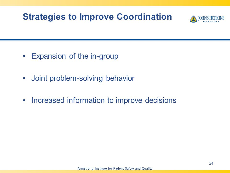 Strategies to Improve Coordination Expansion of the in-group Joint problem-solving behavior Increased information to improve decisions Armstrong Institute for Patient Safety and Quality 24