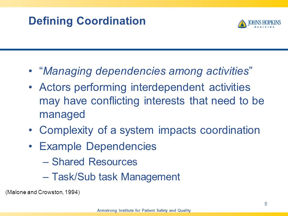 Task Interdependencies in Coordination Pooled Interdependence –Separable sub-tasks Sequential Interdependence –Specific time-order Reciprocal Interdependence –Iterative work among members Team Interdependence –Simultaneous and multi-directional workflow Armstrong Institute for Patient Safety and Quality 9 Thompson, J.