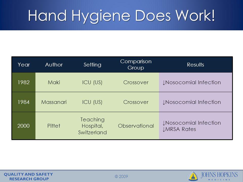© 2009 Hand Hygiene Does Work.