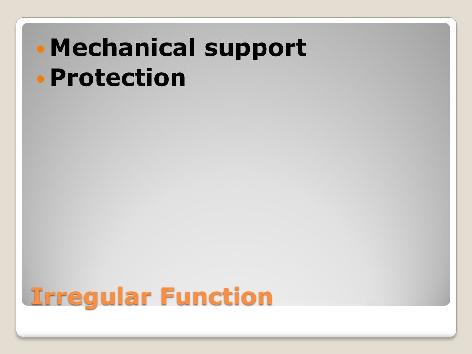 Irregular Function Mechanical support Protection