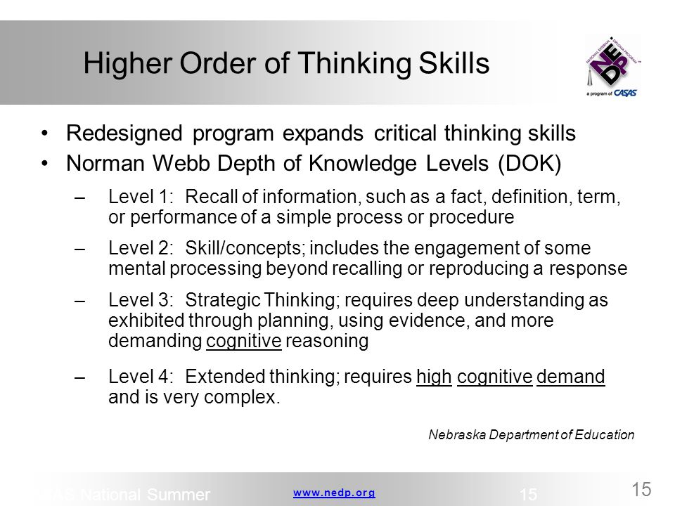 www.nedp.orgwww.nedp.org 15 Higher Order of Thinking Skills Redesigned program expands critical thinking skills Norman Webb Depth of Knowledge Levels