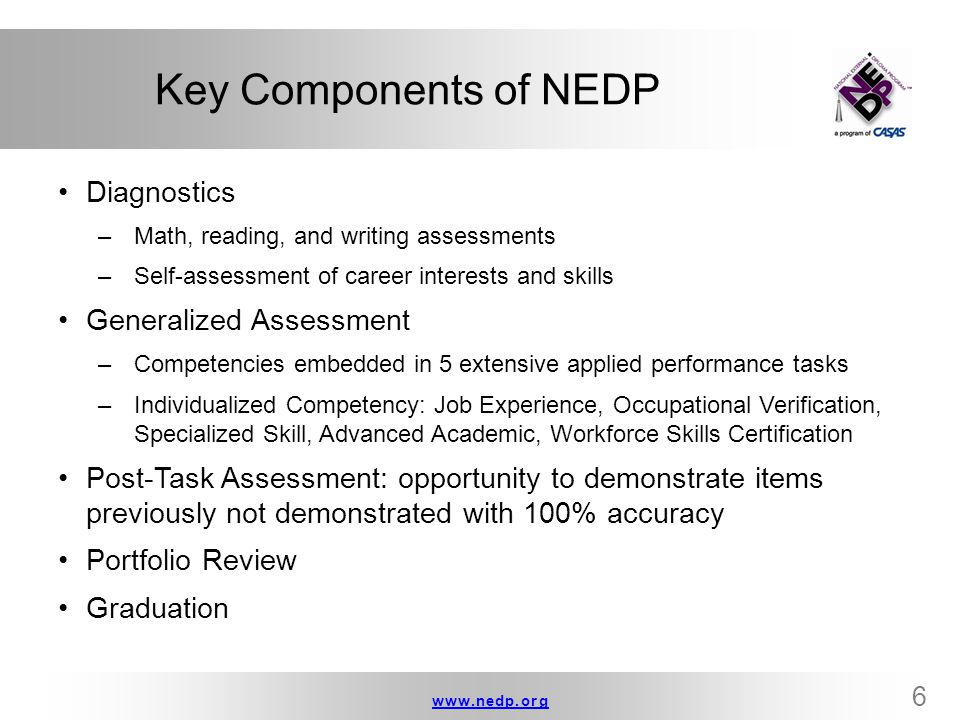 www.nedp.orgwww.nedp.org 17 DOK Level 2 Examples Compare desert and tropical environments Identify and summarize the major events, problem, solution, conflicts in literary text Explain the cause-effect of historical events Predict a logical outcome based on information in a reading selection Explain how good work habits are important at home, school, and on the job.