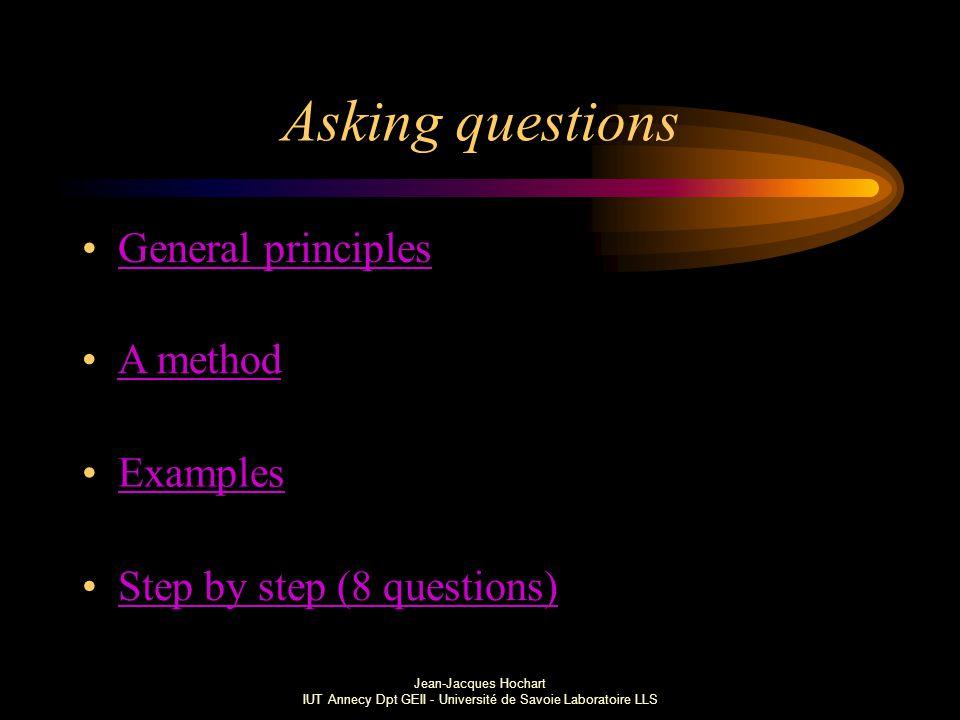 Jean-Jacques Hochart IUT Annecy Dpt GEII - Université de Savoie Laboratoire LLS Asking questions General principles A method Examples Step by step (8 questions)