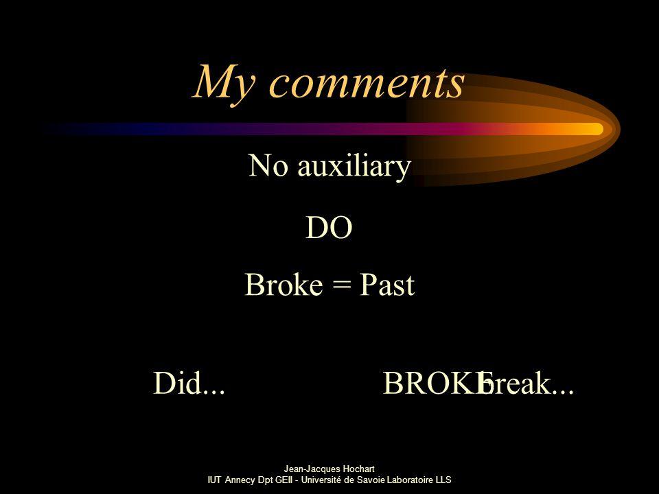 Jean-Jacques Hochart IUT Annecy Dpt GEII - Université de Savoie Laboratoire LLS My comments No auxiliary Broke = Past Did...