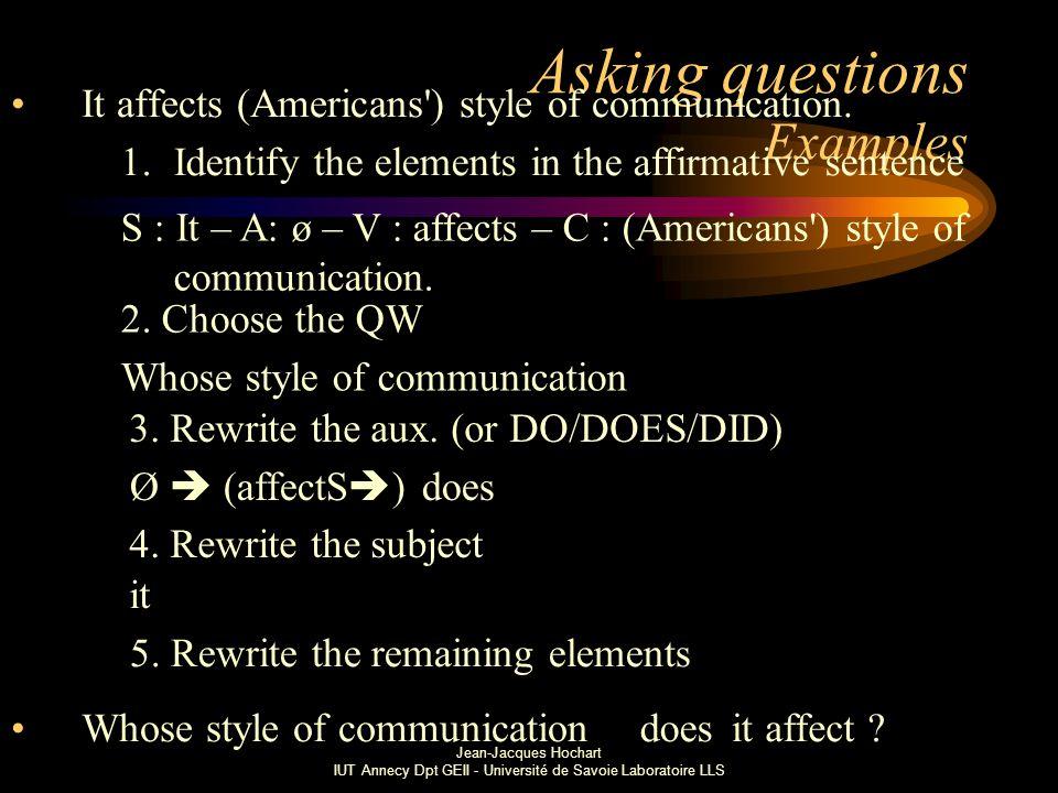 Jean-Jacques Hochart IUT Annecy Dpt GEII - Université de Savoie Laboratoire LLS Asking questions Examples It affects (Americans ) style of communication.