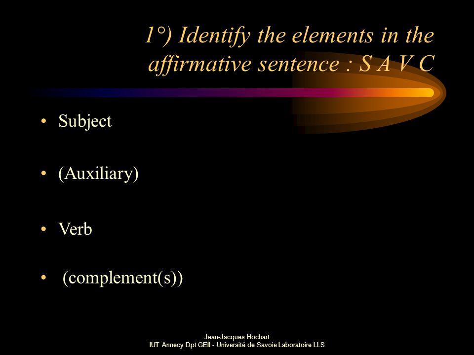 Jean-Jacques Hochart IUT Annecy Dpt GEII - Université de Savoie Laboratoire LLS 1°) Identify the elements in the affirmative sentence : S A V C Subject (Auxiliary) Verb (complement(s))