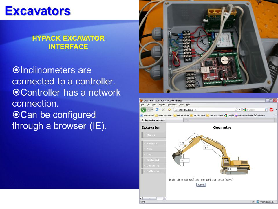 Excavators  Inclinometers are connected to a controller.  Controller has a network connection.  Can be configured through a browser (IE). HYPACK EX