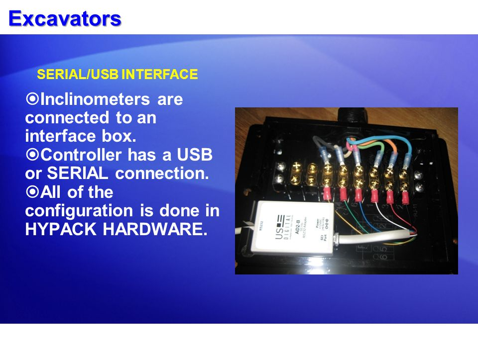 Excavators  Inclinometers are connected to an interface box.  Controller has a USB or SERIAL connection.  All of the configuration is done in HYPAC