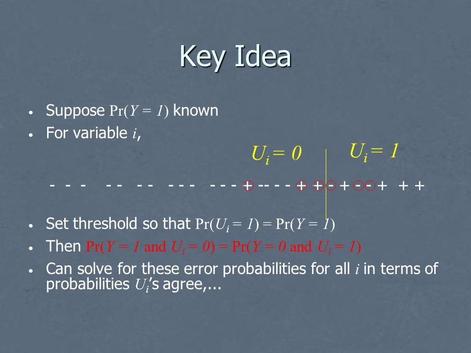 Key Idea Suppose Pr(Y = 1) known For variable i, Set threshold so that Pr(U i = 1) = Pr(Y = 1) Then Pr(Y = 1 and U i = 0) = Pr(Y = 0 and U i = 1) Can solve for these error probabilities for all i in terms of probabilities U i 's agree,...