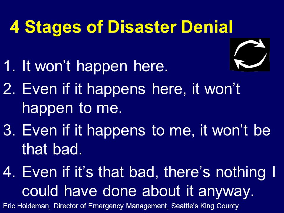 4 Stages of Disaster Denial 1.It won't happen here.