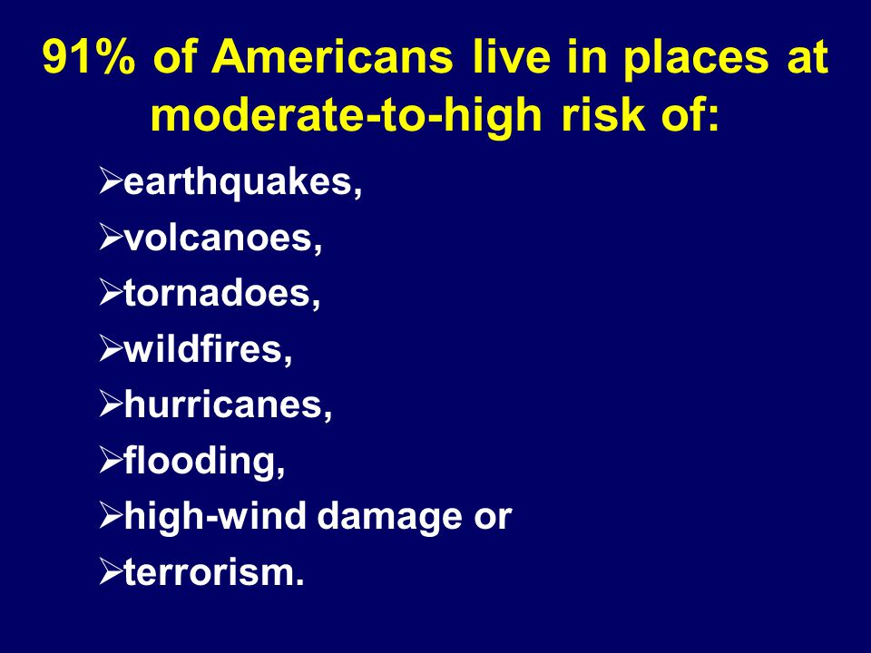 91% of Americans live in places at moderate-to-high risk of:  earthquakes,  volcanoes,  tornadoes,  wildfires,  hurricanes,  flooding,  high-wind damage or  terrorism.