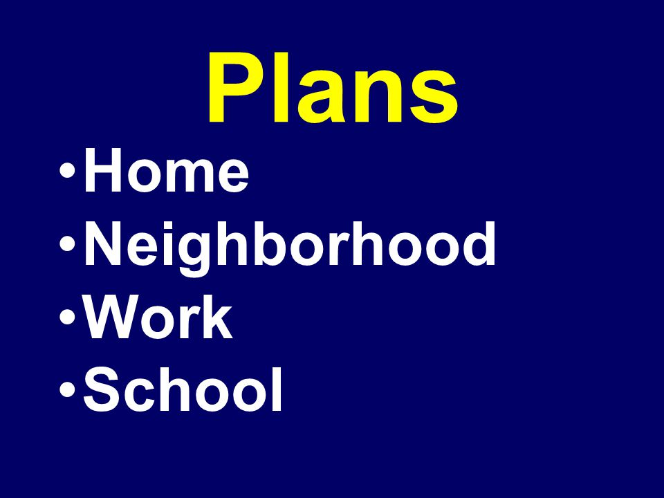 Plans Home Neighborhood Work School