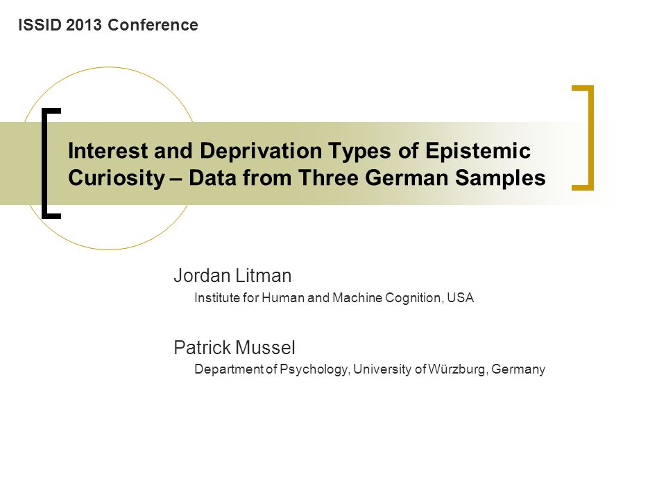 Results and Major Findings Convergent and Discriminative Validity –zero and partial r's The Present Study – Developing and Validating German I/D EC Scales Positive zero-order relationships with measures of tendencies to seek cognitive stimulation show convergence vs.