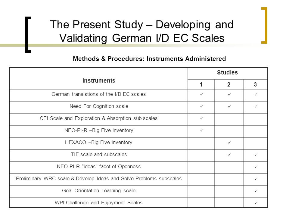Methods & Procedures: Instruments Administered The Present Study – Developing and Validating German I/D EC Scales Instruments Studies 123 German trans