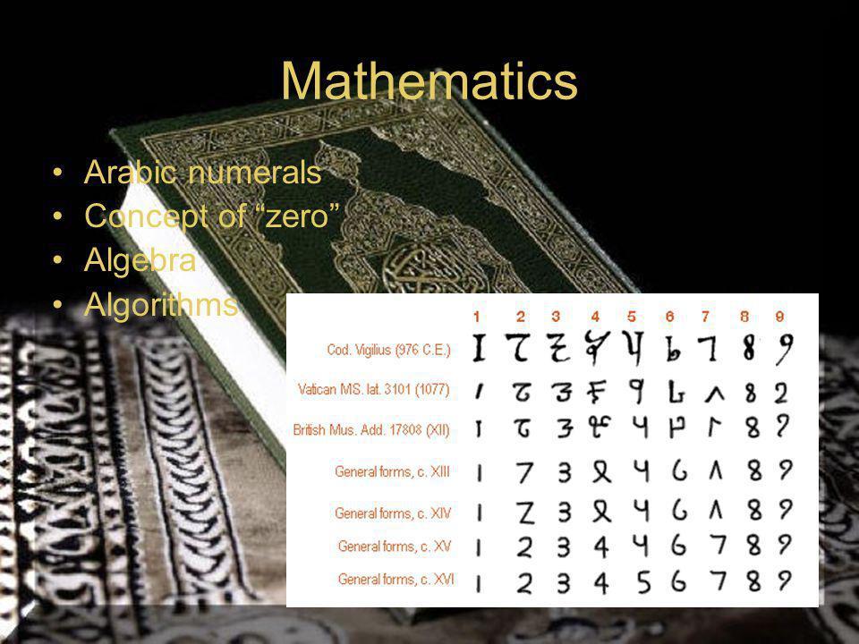 "Mathematics Arabic numerals Concept of ""zero"" Algebra Algorithms"