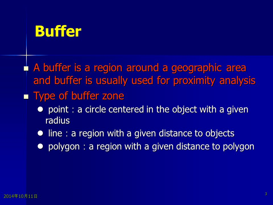 2014年10月11日 2014年10月11日 2014年10月11日 3 Buffer A buffer is a region around a geographic area and buffer is usually used for proximity analysis A buffer is a region around a geographic area and buffer is usually used for proximity analysis Type of buffer zone Type of buffer zone point : a circle centered in the object with a given radius point : a circle centered in the object with a given radius line : a region with a given distance to objects line : a region with a given distance to objects polygon : a region with a given distance to polygon polygon : a region with a given distance to polygon