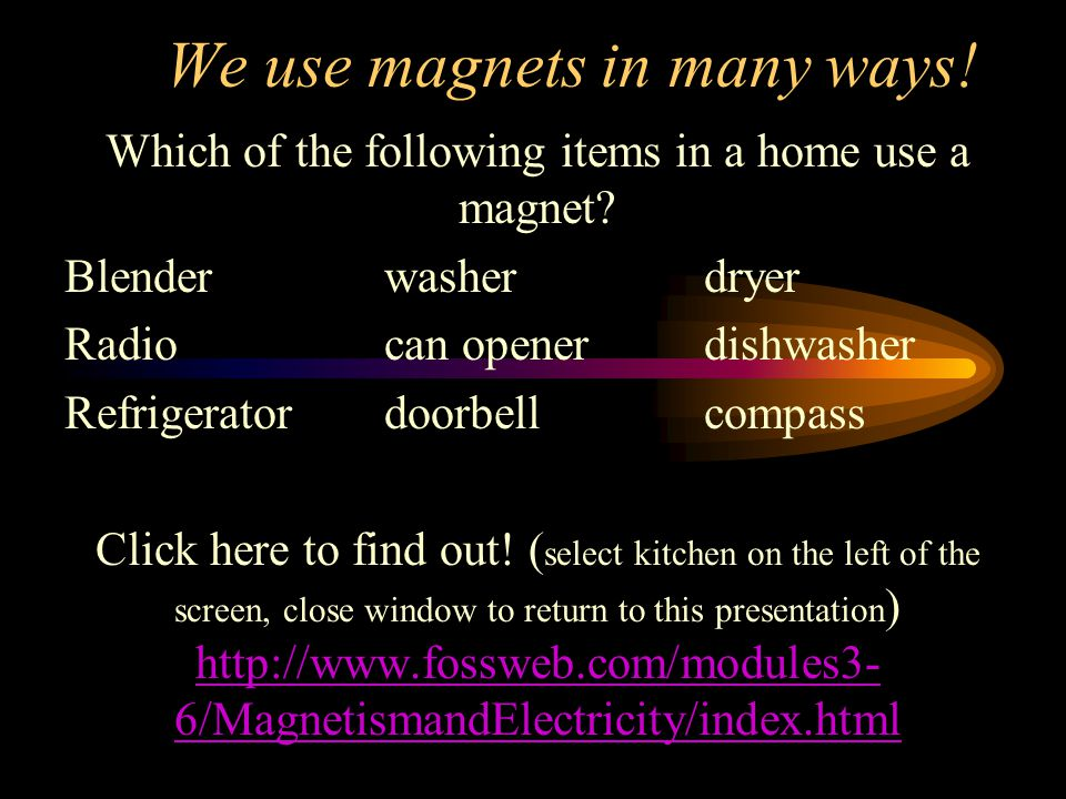 We use magnets in many ways. Which of the following items in a home use a magnet.