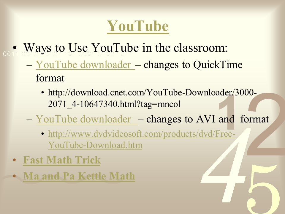 YouTube Ways to Use YouTube in the classroom: –YouTube downloader – changes to QuickTime formatYouTube downloader http://download.cnet.com/YouTube-Dow