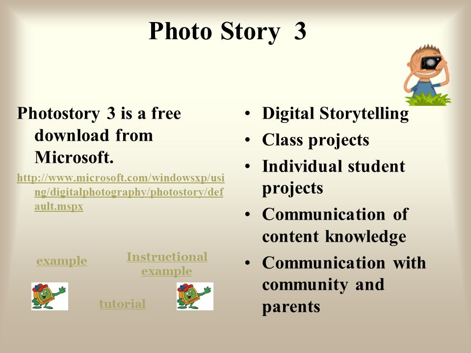 Photo Story 3 Photostory 3 is a free download from Microsoft. http://www.microsoft.com/windowsxp/usi ng/digitalphotography/photostory/def ault.mspx Di