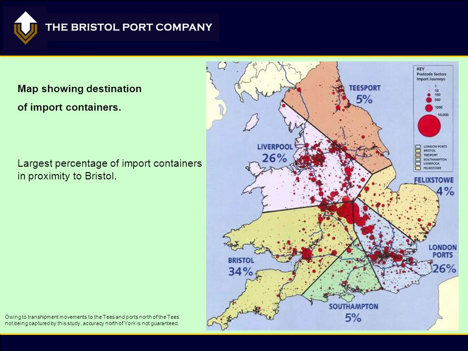 Owing to transhipment movements to the Tees and ports north of the Tees not being captured by this study, accuracy north of York is not guaranteed. Ma
