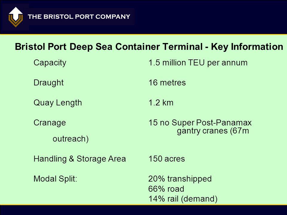 Bristol Port Deep Sea Container Terminal - Key Information Capacity1.5 million TEU per annum Draught16 metres Quay Length1.2 km Cranage15 no Super Post-Panamax gantry cranes (67m outreach) Handling & Storage Area150 acres Modal Split:20% transhipped 66% road 14% rail (demand)