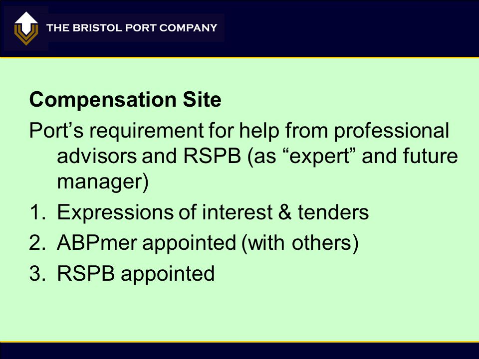 "Compensation Site Port's requirement for help from professional advisors and RSPB (as ""expert"" and future manager) 1.Expressions of interest & tenders"